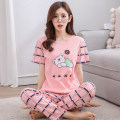 Pajamas / housewear set female Other / other S,M,L,XL,XXL,XXXL cotton Short sleeve Cartoon pajamas summer Thin money Crew neck Cartoon animation trousers Socket youth 2 pieces rubber string More than 95% Knitted cotton fabric printing