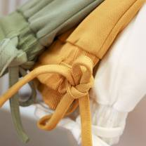 Casual pants Black, dry white, turmeric, gray bean green S,M,L,XL Spring 2021 trousers Natural waist street Thin money 96% and above other pocket cotton Europe and America Asymmetry