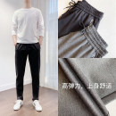 Casual pants Others Fashion City Gray, black L,XL,2XL,3XL,4XL,5XL routine trousers Other leisure easy Micro bomb Four seasons youth Business Casual 2021 middle-waisted Straight cylinder Sports pants Pocket decoration Solid color other Cotton brocade