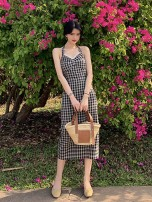 Dress Summer 2021 lattice S,M,L longuette singleton  Sleeveless Sweet V-neck High waist lattice Socket A-line skirt routine Hanging neck style 25-29 years old Type A Bohemia