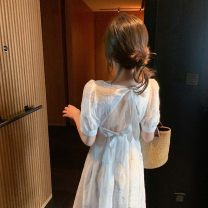 Dress Summer 2021 white S,M,L,XL Mid length dress singleton  Short sleeve Sweet square neck High waist Solid color Socket A-line skirt puff sleeve Others 18-24 years old Type A Bow, open back Chiffon Bohemia
