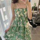 Dress Summer 2021 Picture color S,M,L,XL Short skirt singleton  Sleeveless Sweet One word collar High waist Broken flowers Socket A-line skirt routine camisole 18-24 years old Type A Bohemia