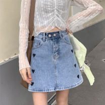 skirt Summer 2021 XS,S,M,L Regular blue, small Short skirt commute High waist A-line skirt Solid color Type A 18-24 years old jj22 More than 95% Denim other Buttons, stickers, embroidery 161g / m ^ 2 (including) - 180g / m ^ 2 (including)