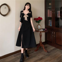Dress Summer 2021 black M [85-100 Jin], l [100-115 Jin], XL [115-130 Jin], 2XL [135-150 Jin], 3XL [150-170 Jin], 4XL [170-200 Jin] Mid length dress singleton  Short sleeve commute square neck High waist Solid color A-line skirt puff sleeve Others 25-29 years old Type A Retro other