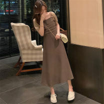 Dress Summer 2021 Khaki, black M [85-100 Jin], l [100-115 Jin], XL [115-130 Jin], 2XL [135-150 Jin], 3XL [150-170 Jin], 4XL [170-200 Jin] Mid length dress singleton  Short sleeve commute square neck Solid color other A-line skirt puff sleeve Others 25-29 years old Type A Retro other