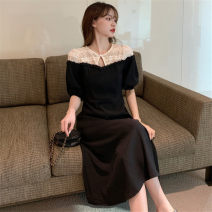 Dress Summer 2021 black M [85-100 Jin], l [100-115 Jin], XL [115-130 Jin], 2XL [135-150 Jin], 3XL [150-170 Jin], 4XL [170-200 Jin] Mid length dress singleton  Short sleeve commute other High waist Solid color A-line skirt routine Others 25-29 years old Type A Retro 51% (inclusive) - 70% (inclusive)