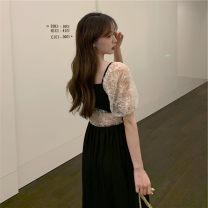 Dress Summer 2021 black M [85-100 Jin], l [100-115 Jin], XL [115-130 Jin], 2XL [135-150 Jin], 3XL [150-170 Jin], 4XL [170-200 Jin] Mid length dress singleton  Short sleeve commute square neck High waist Solid color A-line skirt puff sleeve Others 25-29 years old Type A Retro Chiffon
