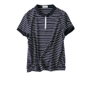 T-shirt 40-49 years old 18285 Short sleeve cotton 71% (inclusive) - 85% (inclusive) Crew neck easy routine Regular payment commute classic Pinstripe, solid Splicing Ol style store up Black, Navy, black stripe, blue stripe M,L,XL,2XL,3XL