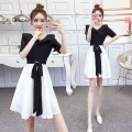 Dress Summer 2020 Black and white dress S,M,L,XL Short skirt singleton  Short sleeve commute V-neck High waist Solid color Socket A-line skirt routine Others 18-24 years old Other / other Korean version