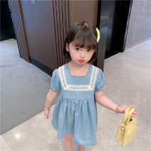 Dress blue female Other / other 90cm,100cm,110cm,120cm,130cm Cotton 100% summer Korean version Short sleeve other Denim Denim skirt Class B 12 months, 18 months, 2 years old, 3 years old, 4 years old, 5 years old, 6 years old, 7 years old, 8 years old Chinese Mainland
