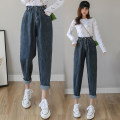 Jeans Spring 2021 Blue grey S,M,L,XL Ninth pants High waist Haren pants routine 18-24 years old Old, wash, zipper, button Cotton elastic denim Dark color 2-21 96% and above