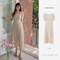 Dress Summer 2020 Picture color S,M,L,XL Mid length dress singleton  Short sleeve commute square neck High waist Solid color zipper Pleated skirt routine Others 18-24 years old Other / other Korean version Bowknot, flounce, tuck, fold, lace, bandage other other
