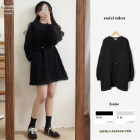 Dress Spring 2021 Black, gray S,M,L,XL longuette singleton  Long sleeves commute Crew neck High waist Solid color Socket A-line skirt routine Others 18-24 years old Type A Korean version 51% (inclusive) - 70% (inclusive) brocade cotton
