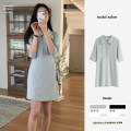 Dress Summer 2021 Black, bean green S,M,L,XL Short skirt singleton  elbow sleeve commute Polo collar High waist Solid color Single breasted A-line skirt routine Others 18-24 years old Type A Korean version Bandage 31% (inclusive) - 50% (inclusive) Crepe de Chine polyester fiber