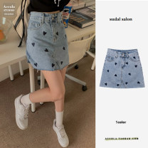 skirt Summer 2021 S,M,L,XL blue Middle-skirt commute High waist A-line skirt other Type A 31% (inclusive) - 50% (inclusive) Denim polyester fiber bow Korean version