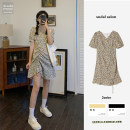 Dress Summer 2021 Black, yellow S,M,L,XL Middle-skirt singleton  Long sleeves commute V-neck High waist Solid color other A-line skirt puff sleeve Breast wrapping 18-24 years old Type A Korean version Print, stitching, lace up, ruffle, bandage 31% (inclusive) - 50% (inclusive) Chiffon