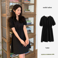 Dress Summer 2021 black S,M,L,XL Middle-skirt singleton  Short sleeve commute V-neck High waist Solid color zipper A-line skirt puff sleeve Others 18-24 years old Type A Korean version Printing, stitching, bowknot, tuck, lace, ruffle, drape, bandage 81% (inclusive) - 90% (inclusive) other cotton