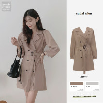 Dress Spring 2021 Light grey, Khaki S,M,L,XL Mid length dress singleton  Long sleeves commute tailored collar High waist Solid color double-breasted Big swing routine Others Type A Other / other Korean version 71% (inclusive) - 80% (inclusive) polyester fiber