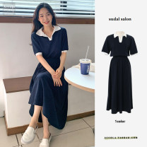 Dress Summer 2021 Navy Blue S,M,L,XL longuette singleton  Short sleeve commute Crew neck middle-waisted Solid color Single breasted A-line skirt puff sleeve Others 18-24 years old Type A Korean version 30% and below Chiffon polyester fiber
