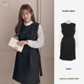 Dress Winter 2020 Shirt, vest, skirt S,M,L,XL Short skirt Two piece set Long sleeves commute stand collar High waist Solid color A-line skirt shirt sleeve Others 18-24 years old Other / other Korean version