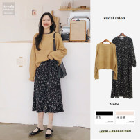 Dress Winter of 2018 Off white, black, white, yellow S,M,L,XL longuette singleton  Long sleeves commute Crew neck High waist Broken flowers zipper Big swing puff sleeve Others Other / other Korean version Pleats, folds, bandages, prints