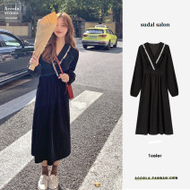 Dress Winter 2020 black S,M,L Mid length dress singleton  Long sleeves commute V-neck Elastic waist Solid color A-line skirt puff sleeve Others 18-24 years old Other / other Korean version Ruffles , Splicing , Button , Pleating , Sticking cloth , fungus brocade other