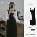 Dress Autumn 2020 Black_ Suspender skirt, white_ shirt S,M,L,XL longuette Two piece set Long sleeves commute square neck High waist Solid color A-line skirt shirt sleeve straps 18-24 years old Type A Other / other Korean version Pleating, folding, stitching 31% (inclusive) - 50% (inclusive)
