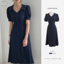 Dress Summer 2020 Dark blue, white S,M,L Mid length dress singleton  Short sleeve commute V-neck High waist Solid color Single breasted A-line skirt puff sleeve Others 18-24 years old Type A Other / other Korean version 31% (inclusive) - 50% (inclusive) other other
