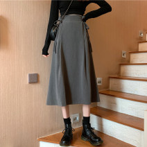 skirt Autumn 2020 S,M,L,XL Black, gray Mid length dress commute High waist A-line skirt Solid color Type A 18-24 years old 51% (inclusive) - 70% (inclusive) other cotton Simplicity