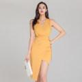 Dress Summer 2020 yellow S,M,L,XL singleton  Sleeveless commute V-neck High waist Solid color zipper Irregular skirt 18-24 years old Korean version Fold, lace up, stitching, asymmetry, zipper