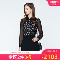 shirt BLACK MIX 2,4,6,8,10,12,14 Spring of 2019 nylon 51% (inclusive) - 70% (inclusive) Long sleeves Versatile Regular Polo collar Socket shirt sleeve Broken flowers 25-29 years old Self cultivation Ports