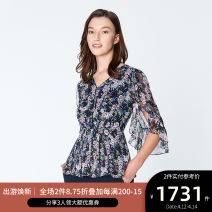 shirt NAVY PRINT 2,4,6,8,10,12,14 Spring of 2019 other 96% and above Long sleeves Versatile Regular V-neck Socket routine Broken flowers 30-34 years old Self cultivation Ports printing
