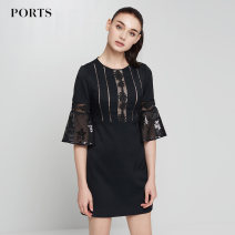 Dress Winter 2017 black 2,4,6,8,10,12 Middle-skirt singleton  Long sleeves commute Crew neck middle-waisted Solid color Socket pagoda sleeve Others 25-29 years old Ports Simplicity Lace 91% (inclusive) - 95% (inclusive) polyester fiber