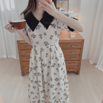 Dress Summer 2021 Picture color S,M,L,XL longuette singleton  Short sleeve commute Polo collar High waist Broken flowers A-line skirt routine Others 18-24 years old Type A Other / other Korean version 31% (inclusive) - 50% (inclusive)