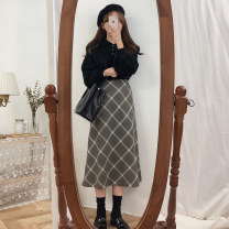 skirt Winter of 2018 S,M,L,XL Skirt, suit [two-piece set], black sweater, about to increase price 69 yuan, high quality stock, collection + shopping cart priority delivery Mid length dress commute A-line skirt lattice Type A 18-24 years old 31% (inclusive) - 50% (inclusive) other Other / other other