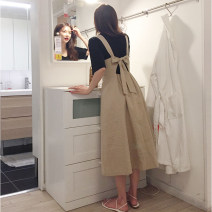 Dress Summer of 2019 Black T-shirt, khaki dress, two piece set S,M,L,XL Mid length dress singleton  Sleeveless commute V-neck High waist Solid color Single breasted Big swing routine straps 18-24 years old Type A Other / other Korean version Bow, tie, tie 31% (inclusive) - 50% (inclusive) other