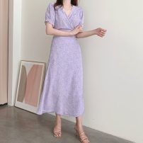Dress Summer 2020 Purple, blue S,M,L,XL longuette singleton  Short sleeve commute V-neck High waist Broken flowers A-line skirt routine Others 18-24 years old Type A Other / other Korean version 31% (inclusive) - 50% (inclusive) Chiffon