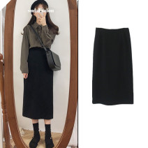 skirt Autumn of 2019 S,M,L,XL black Mid length dress Versatile High waist Little black dress Solid color Type H 18-24 years old 31% (inclusive) - 50% (inclusive) brocade Other / other Thread, zipper