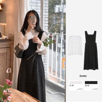 Dress Spring 2021 Black_ Suspender skirt, white_ shirt S,M,L,XL longuette Two piece set Sleeveless commute square neck High waist Solid color zipper A-line skirt Lotus leaf sleeve straps 18-24 years old Type A Other / other Korean version Open back, strap, zipper 31% (inclusive) - 50% (inclusive)