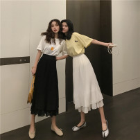 skirt Summer 2020 S,M,L White, black Mid length dress Versatile High waist Cake skirt Solid color Type A 18-24 years old 31% (inclusive) - 50% (inclusive) Chiffon Other / other