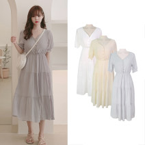 Dress Summer of 2019 Apricot, grey, off white S,M,L,XL longuette singleton  Short sleeve commute V-neck High waist Solid color Three buttons Big swing puff sleeve Others 18-24 years old Type A Other / other Korean version Lotus leaf edge Chiffon