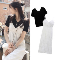Dress Summer 2020 White dress, black T-shirt S,M,L,XL Mid length dress singleton  Sleeveless commute V-neck High waist Solid color zipper Pleated skirt other camisole 18-24 years old Type A Other / other Korean version Open back, fold, wave, strap, zipper, swallow tail