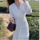 Dress Spring 2020 white S,M,L,XL Mid length dress singleton  Long sleeves commute V-neck High waist Solid color Socket A-line skirt puff sleeve Others 18-24 years old Type A Korean version 31% (inclusive) - 50% (inclusive) Chiffon