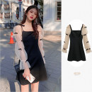 Dress Spring 2021 black S,M,L Short skirt Fake two pieces Long sleeves commute Crew neck High waist Solid color Socket A-line skirt puff sleeve Others 18-24 years old Type A Other / other Korean version 31% (inclusive) - 50% (inclusive) Chiffon