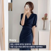 Dress Summer 2020 Light green, Navy, Beixing, pink S,M,L,XL Mid length dress singleton  Short sleeve commute V-neck High waist Solid color zipper A-line skirt routine Others 18-24 years old Type A Other / other Korean version 31% (inclusive) - 50% (inclusive)