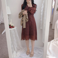 Dress Autumn 2020 S,M,L,XL Middle-skirt singleton  Long sleeves commute V-neck High waist Broken flowers Three buttons A-line skirt routine Others 18-24 years old Type A Other / other Korean version bow 31% (inclusive) - 50% (inclusive) Chiffon