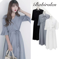 Dress Summer of 2019 Gray, white, black S,M,L,XL Mid length dress singleton  Short sleeve commute V-neck High waist Solid color other Big swing Lotus leaf sleeve Others 18-24 years old Type A Other / other Korean version Bow, Ruffle 31% (inclusive) - 50% (inclusive) Chiffon other
