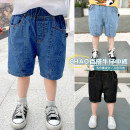 trousers Siliba male 90cm,100cm,110cm,120cm,130cm Light blue, blue, black summer Pant leisure time There are models in the real shooting Jeans Leather belt middle-waisted Cotton denim Don't open the crotch Cotton 100% Class B