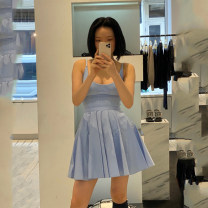 Dress Summer 2020 Light blue, black, white, pink S,M,L Mid length dress singleton  Sleeveless street Crew neck middle-waisted Solid color Socket Ruffle Skirt routine camisole 25-29 years old Type X More than 95% knitting cotton Europe and America
