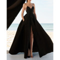 Dress / evening wear Wedding, adulthood, party, company annual meeting, performance, routine, appointment XXL,XXXL,XS,S,M,L,XL,XM black grace longuette middle-waisted Spring 2020 A-line skirt Deep collar V zipper Brocade 26-35 years old Ax - black long skirt with split suspender Sleeveless